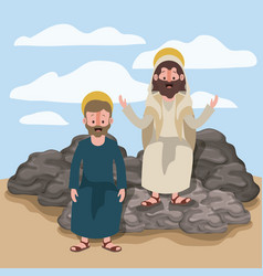 Jesus the nazarene and james the lesser in scene vector