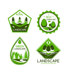 Landscape design icons or emblems set vector