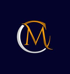 letter cm modern stylish logo design vector image