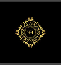 Letter h luxury ornament logo monogram crest vector