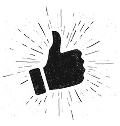 like hand vintage style hand drawn thumbs up vector image