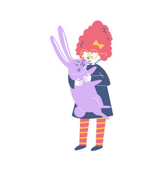 Little girl and her rabbit embracing flat cartoon vector