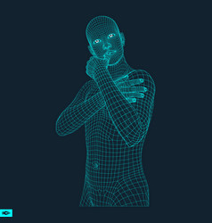 man in a thinker pose 3d model of man geometric vector image