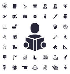 Man reading book icon vector