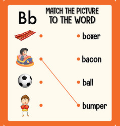 Match picture to word worksheet for vector