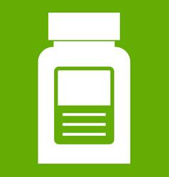 Medicine bottle icon green vector