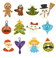 merry christmas winter holidays cute symbolic vector image