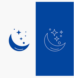 moon night star weather space line and glyph web vector image