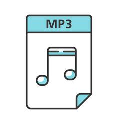 Mp3 file color icon digital audio document music vector