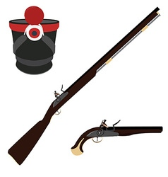 Musket rifle gun and hat vector