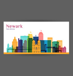 newark city architecture silhouette vector image