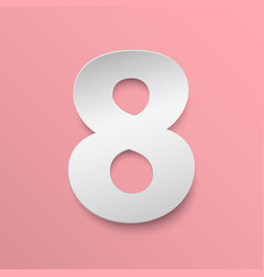 Number 8 cut paper vector