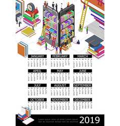 online education 2019 year calendar template vector image