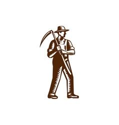 Organic Farmer Holding Scythe Woodcut vector