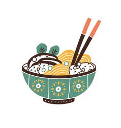 Painted ceramic bowl japanese noodle soup vector