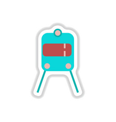 Paper sticker on white background train airport vector