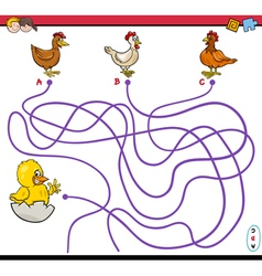Path maze activity with chickens vector