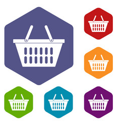 Plastic shopping basket icons set hexagon vector