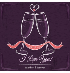 Purple weddings card with two glass of wine vector