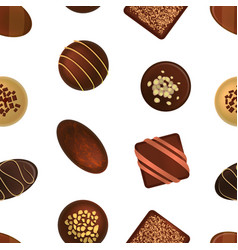Realistic 3d chocolate candies seamless pattern vector