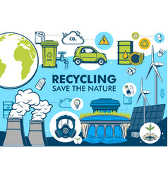 Recycling and green energy save nature vector