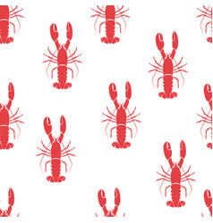 Red lobster seamless pattern vector