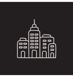 Residential buildings sketch icon vector image