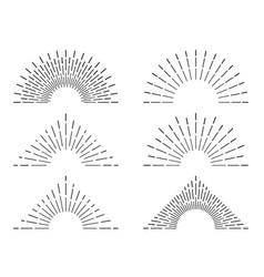 Retro sunburst frames vintage radiant sun rays vector