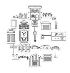 road signs icons set outline style vector image