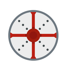round shield icon flat style vector image