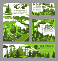 save planet ecology green project posters vector image