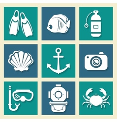 Sea symbols icons et vector