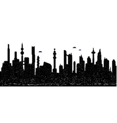 seamless cyberpunk cityscape silhouette vector image