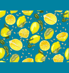 Seamless pattern with lemon fruit halves anf vector