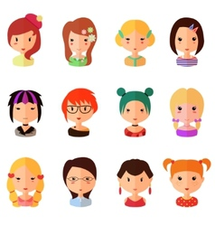 set of cartoon avatar flat girls icons vector image