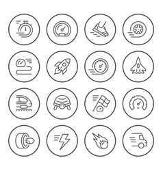 set round line icons speed vector image