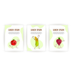 set vertical banners cheerful emotional vegetables vector image