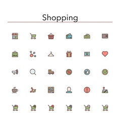 Shopping colored line icons vector