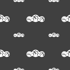 Speed speedometer icon sign Seamless pattern on a vector