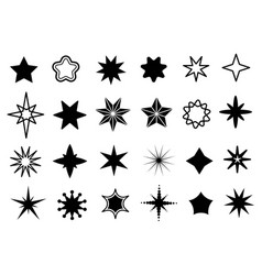 star shapes set different stars black silhouettes vector image