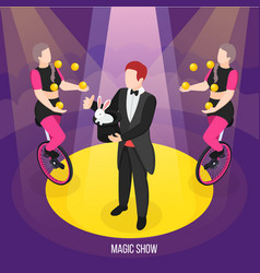 street artists magic show composition vector image