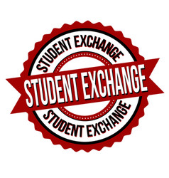 Student exchange label or sticker vector