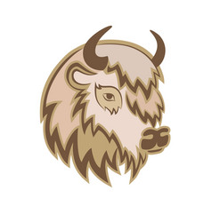 stylized head of a buffalo with the horns on the vector image