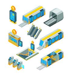 subway metro elements entrance electric gates vector image