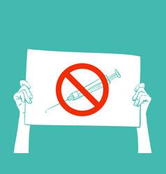 Syringe under red forbidden sign protest banner vector