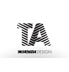 Ta t a lines letter design with creative elegant vector