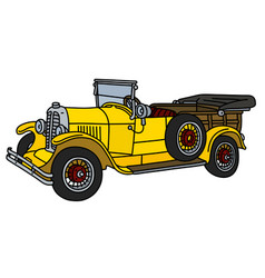 The vintage yellow open car vector