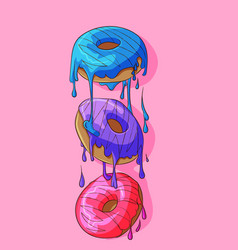 three donuts with frosting that melts vector image