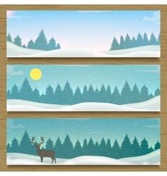 Three winter landscape banners Winter backround vector image