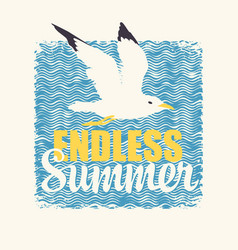 travel banner with seagull endless summer vector image